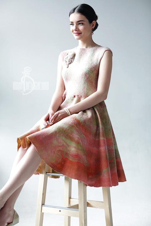 Купить Валяное платье «Rose» - бледно-розовый, валяное платье, платье ручной работы