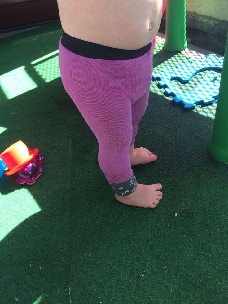 Toddler leggings from socks amazingly simple!! http://www.howdoesshe.com/5-minute-toddler-leggings/ I used regular socks - extended with bit t-shirt