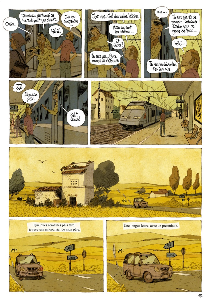 Real: Environment Design (Cyril Pedrosa) - desaturated analogous color. Rough lines and subtle caricature.