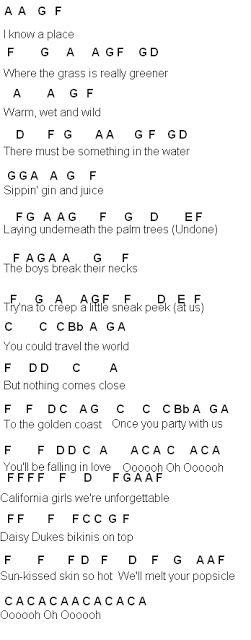 Flute Sheet Music: California Gurls