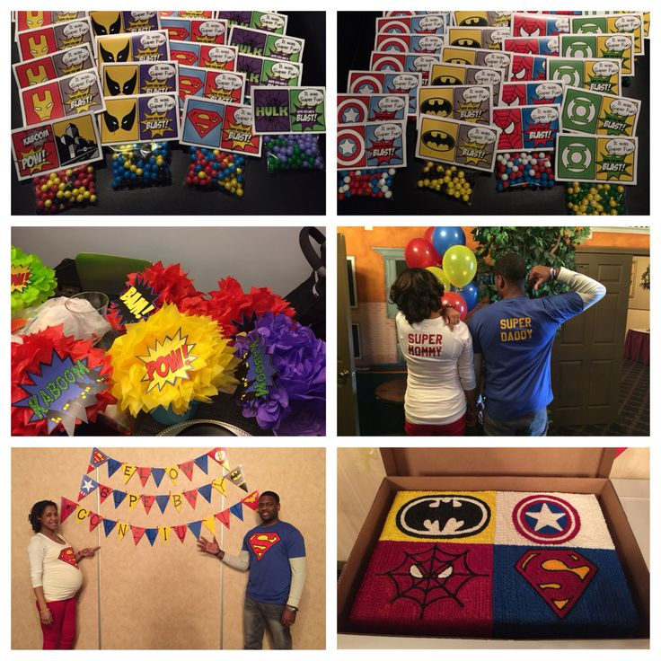 Our superhero themed baby shower. Cake, centerpieces, candy favors, family shirts, cookie treats, banners, and games all used the superhero theme. Since I was at home on limited activity, I had the time to work with some Etsy graphic designers to help make my vision happen. Curious? Need ideas? Send me a message! :)