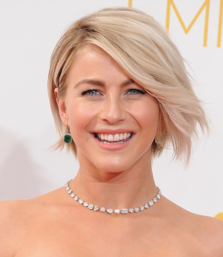 A slighty wavy bob with a little bit of layering to lighten up the ends. The ideal way to ease into short hair for longer-locked gals. Julianne Hough