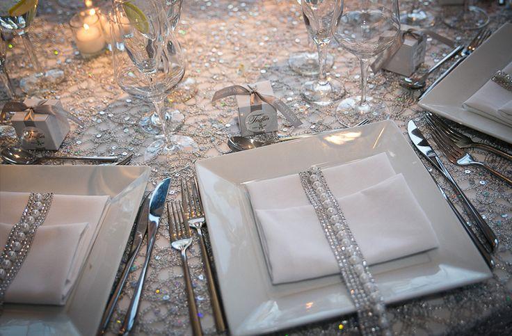 Glamorous White and Silver New York Wedding  White table  New york wedding Wedding Art deco