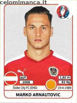 UEFA EURO 2016™ Official Sticker Album: Fronte Figurina n. 643 Marko Arnautovic