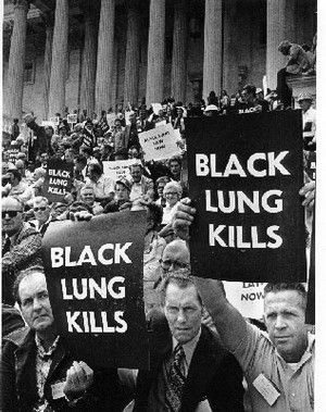 Coal miners from Appalachia sit on the steps of the U.S. Capital in the 1960s, protesting for increased federal regulation and oversight of mining operations to protect them from black lung and other health hazards. Congress passed Federal Coal Mine Health and Safety Act in 1969.