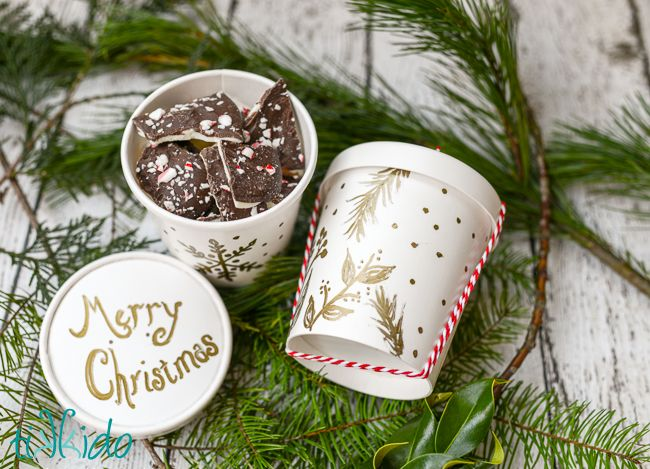 Easy, elegant, food-safe packaging for your Christmas Cookies. I was inspired by the gold foil designs on our Shutterfly Christmas cards, and duplicated them with a gold paint pen on a take-out container.