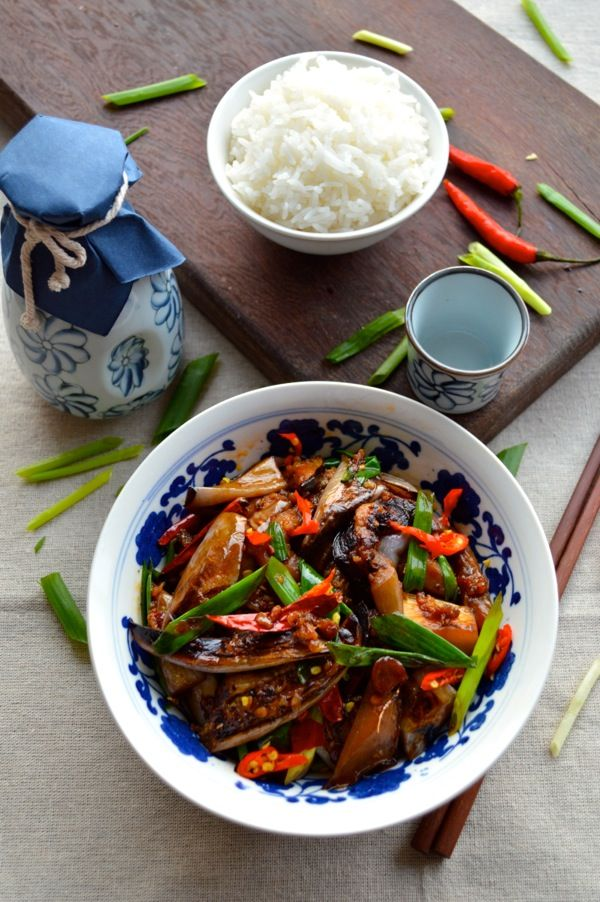Chinese Eggplant with Garlic Sauce - Not frying required! #chinese #eggplant #garlicsauce,