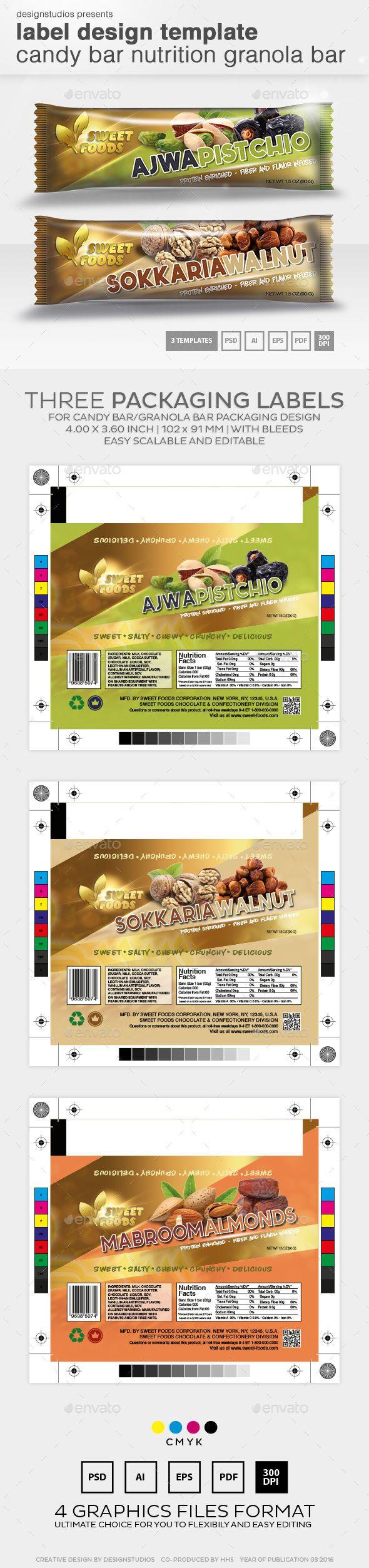 Label Design Template Candy Bar Nutrition Granola Bar