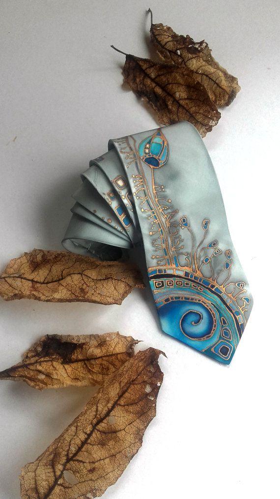 Gray & Blue Men's Tie  Men's silk tie  silk by InGAartWork on Etsy