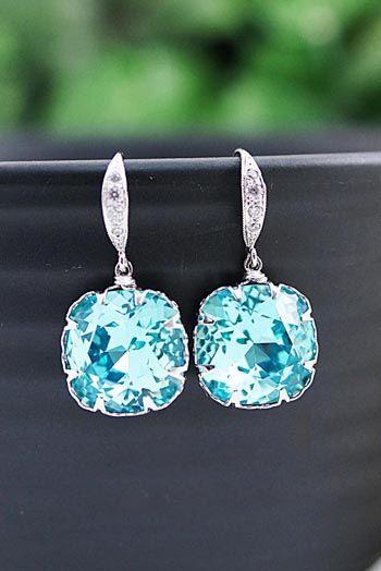 Light Turquoise Swarovski Crystal Earrings from EarringsNation Turquoise weddings