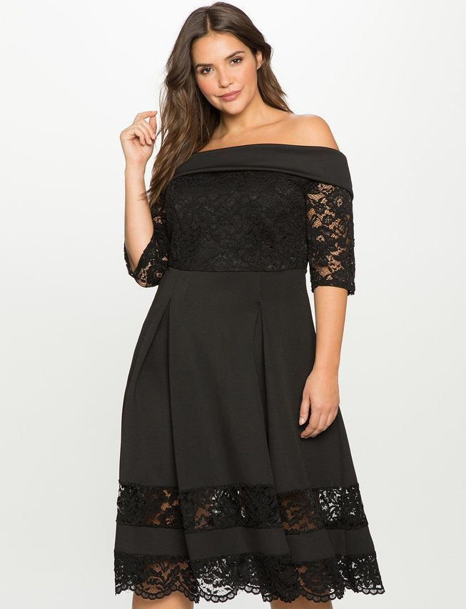 Plus Size Off the Shoulder Lace Detail Fit and Flare Dress