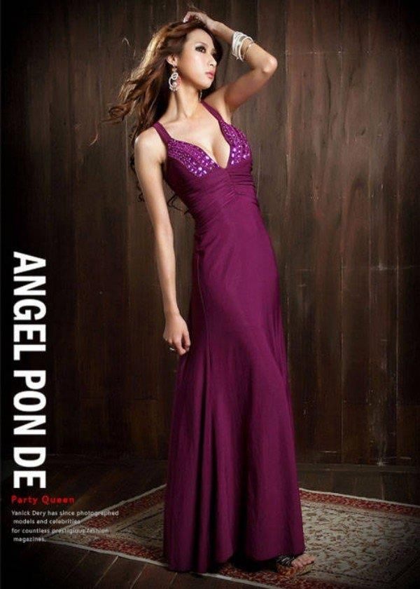 ANGEL PON DE PU Dlouhé dámské šaty, společenské šaty, plesové šaty