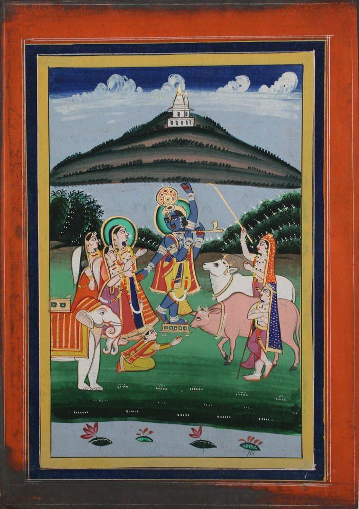 www.IndianMiniaturePaintings.co.uk - Krishna raises Mt. Govardhan to shelter inhabitants from wrathful Indra's storm. Jaipur, circa 1880. Gouche and gold on wasli. 35 x 24.8cm