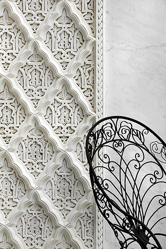 La Sultana, Marrakech - pattern mixes can also be carved and molded.