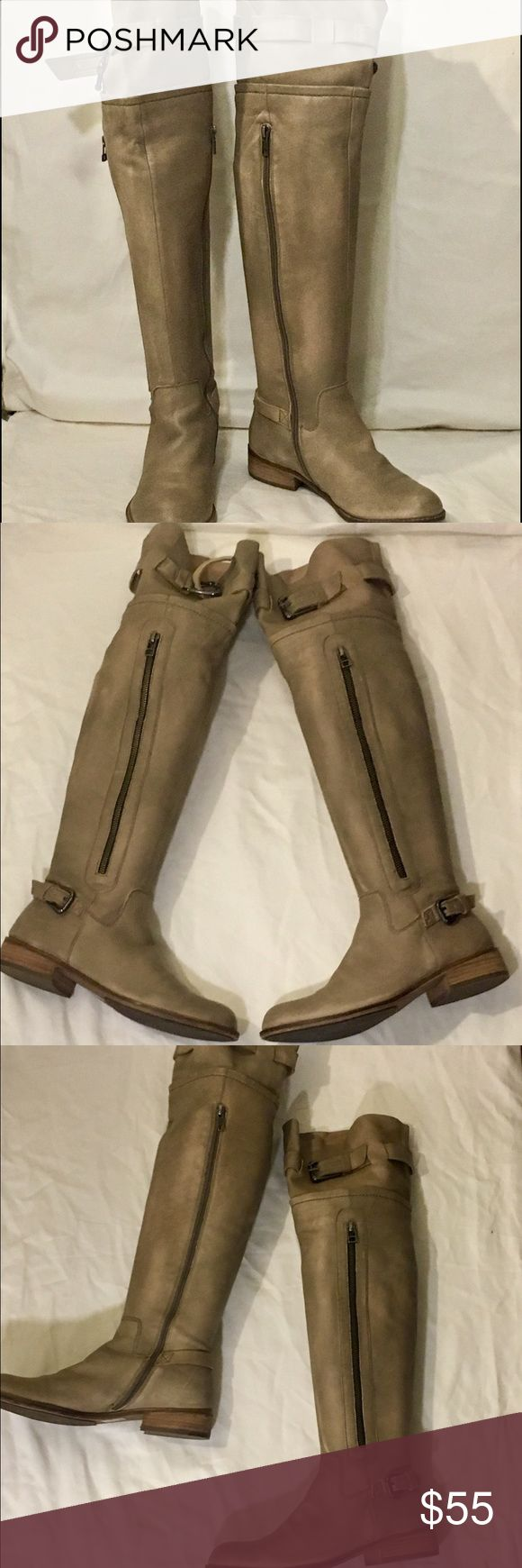 Steve Madden leather OTK boots Supple tan leather boot! Low heel for walking comfort. modern classic that's adds a little edge to any outfit! Steve Madden Shoes Over the Knee Boots