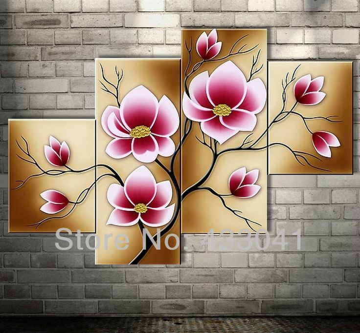 Bright Pink Abstract Flower Oil Paintings Large Canvas Art Cheap Modern 4 Piece Wall Art Set Handpainted Home Decorative Picture US $54.00