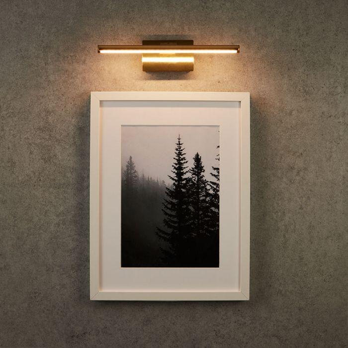 Medium Slimline Battery Operated Led Picture Light Polished Brass In 2020 Led Picture Light Picture Light Picture Frame Light