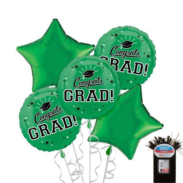 Green Graduation Balloon Bouquet 5pc