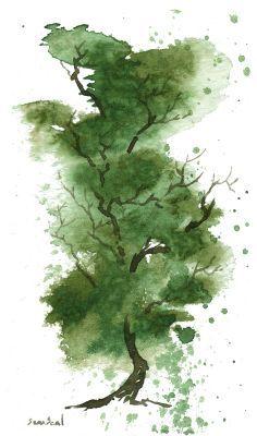 watercolor tree Baum kleines Aquarell
