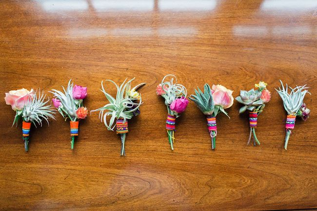 """POV: This example is a bit much on the vibrant colors & maybe too expected """"Fiesta"""" themed for us, but the simplicity, non-traditional floral use, and size are interesting to us - especially if invite colors were pulled in this way."""