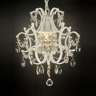Regent - Versailles 1-light White/ Crystal Mini Chandelier - Add an elegant touch to your dining room or entry way with this stunning crysta...
