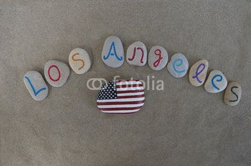 Los Angeles, California, souvenir on carved and colored stones