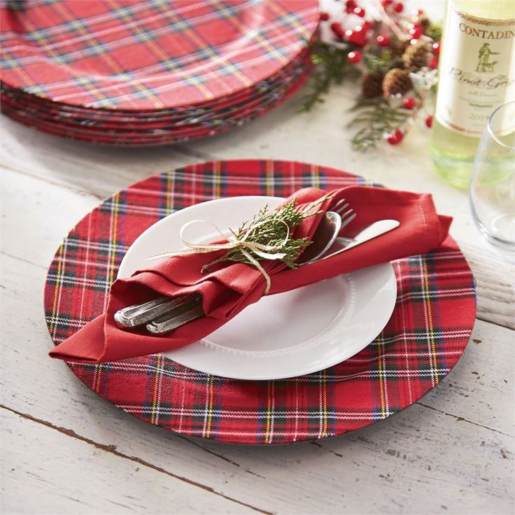 "Red tartan plaid charger accents any dinnerware! Size: 13"" diameter"
