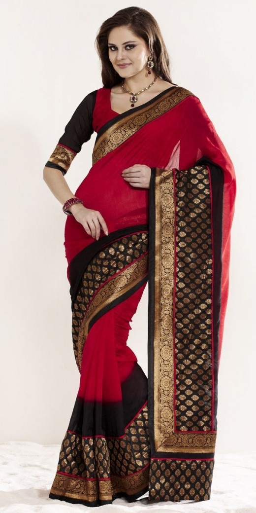 Red and Black jacquard crepe saree with an intricately designed border