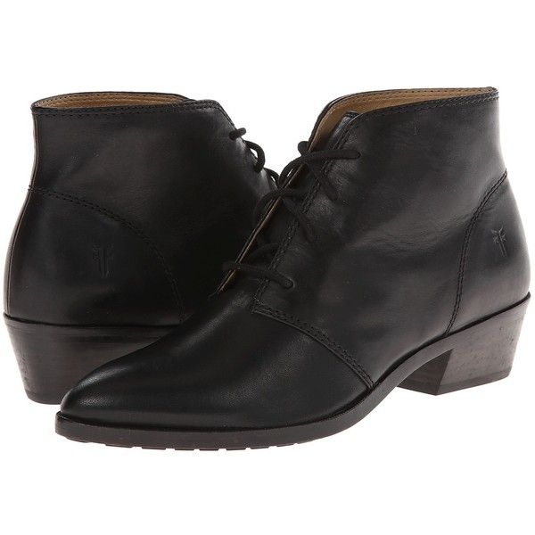 Frye Ruby Chukka Women's Lace-up Boots (395 CAD) ❤ liked on Polyvore featuring shoes, boots, black smooth vintage leather, frye shoes, lacing boots, black chukka boots, black lace up shoes and laced boots