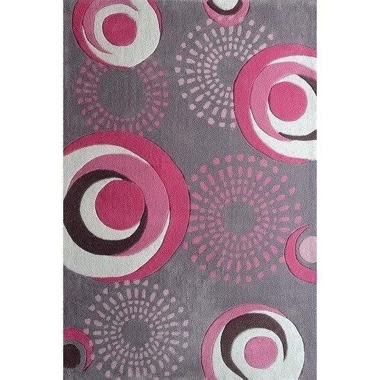 Rug Factory Plus Zoomania Collection Dancing Circles Kids Pink Or Gray