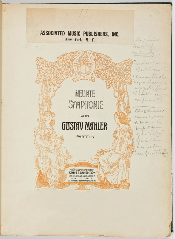 bernsteins mahler 9 score title page