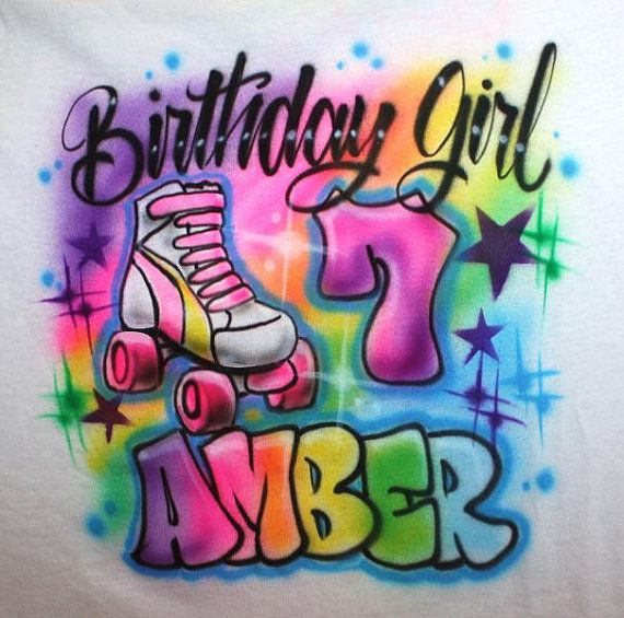 SKATE PARTY T SHIRT Hello and welcome to Eternal Airbrush!! This is an airbrushed BIRTHDAY GIRL skate t shirt Great for your skate or any birthday party!! You may choose any first name and age to personalize the design with. Design will be made on the front of a new t shirt. T- Shirts: - Color: White, Light Gray or Light Pink - Unisex Crew Neck - Short Sleeve - Preshrunk Be sure to check out more of my birthday skating designs here: https://www.etsy.com/shop/EternalAirbrush?section_id=1...