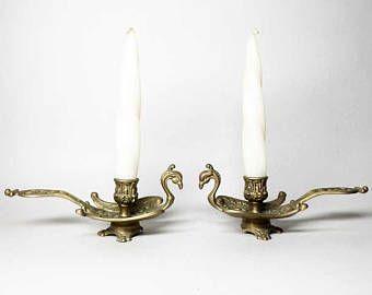 Coppia di candelieri Vintage bronzo - candelieri a mano a forma di uccello