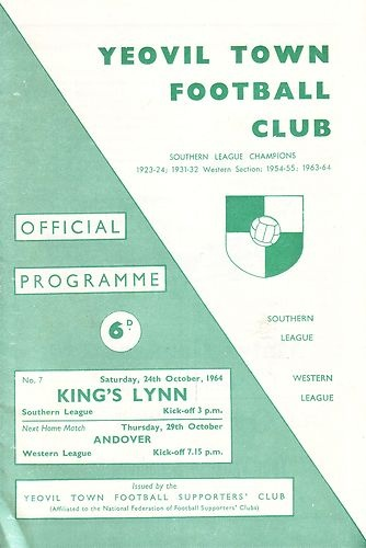 Away to Yeovil Town FC  24/10/1964  Southern League
