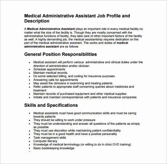 Medical Office Assistant Job Description Resume Elegant 9 Medical Assistant Job Descr Medical Assistant Job Description Assistant Jobs Medical Assistant Resume