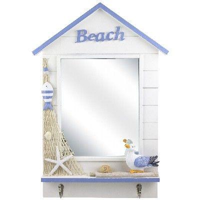 NA 78054 - Specchio Cabina da spiaggia Beach con 2 ganci - 57x40 cm