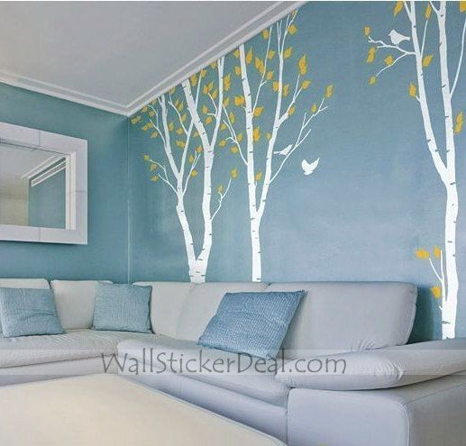 Birds in the Birch Forest 3 Sets Wall Sticker - home-decorating Photo