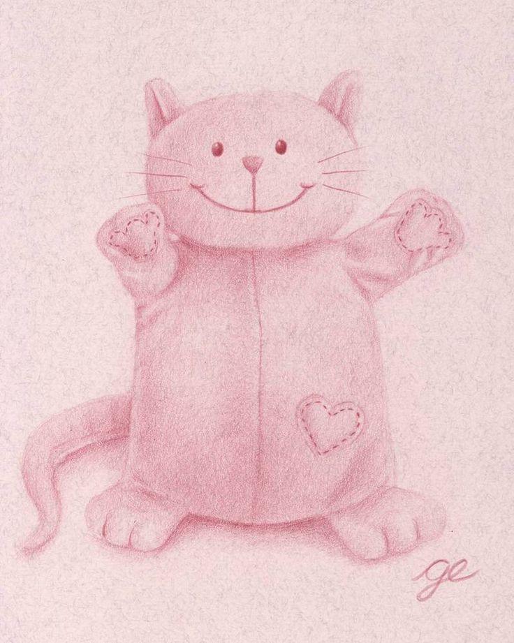 Sofia la peluche chat. ❤Reproduction8 x 10 po (20,32 x 25,4 cm)d'un dessin de chat en peluche aux crayons de couleur.❤ Vous souhaiteriez avoir ce dessin dans un autre format? Écrivez-moi à gedesy@gmail.com