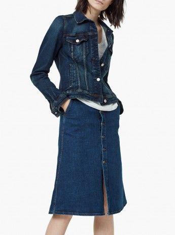 MANGO A-line Denim Skirt Mid Blue