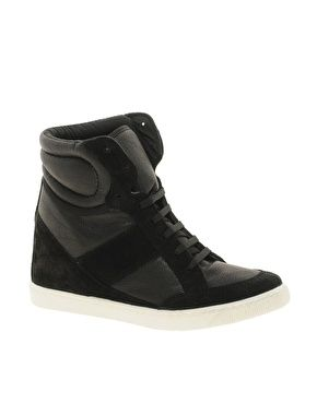 Or these....    Enlarge ASOS DENY Wedge High Top Sneakers With Suede DetailDenis Wedges, Asos Denis, Black Hightops, High Tops, High Top Sneakers, Suede Details, Wedges High, Tops Sneakers, Tops Trainers