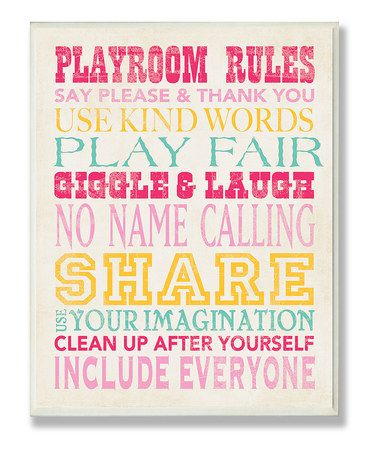 Pink Playroom Rules Typography Wall Plaque by Stupell Industries on #zulily