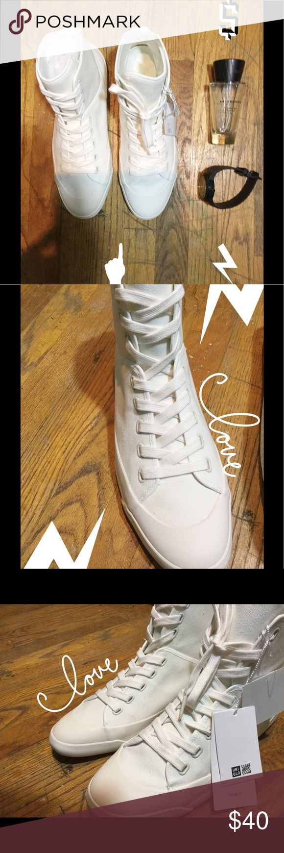 Uniqlo High size 10 Canvas white tops. Really comfortable. Size 10 only available Uniqlo Shoes Sneakers
