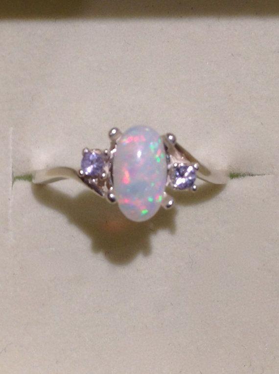 Brazilian Opal Ring Genuine Pink And Purple Opal Silver