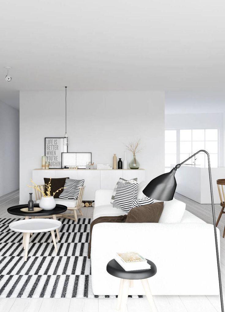 Black and white living room with stripes via Coco Lapine Design blog.