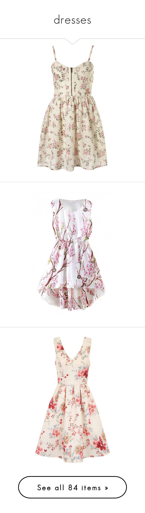 """""""dresses"""" by black-on-white ❤ liked on Polyvore featuring dresses, vestidos, short dresses, floral, women, short corset dress, cotton floral dress, mini dress, floral corset and beautifulhalo"""