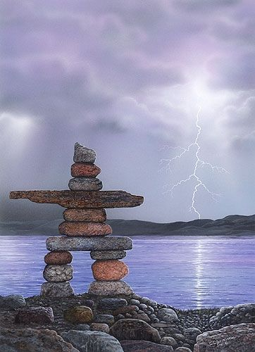 An Inukshuk. These are Indigenous Canadian rock sculptures used as landmarks/navigation tools. They can be seen throughout many provinces and arctic territories of Canada.