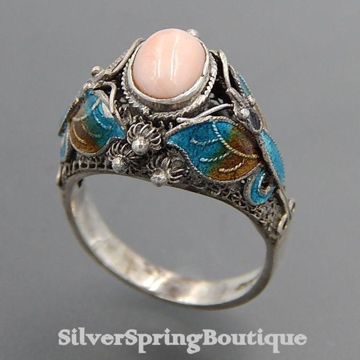 Vintage Chinese Bj 925 Silver Filigree Enamel Angel Skin