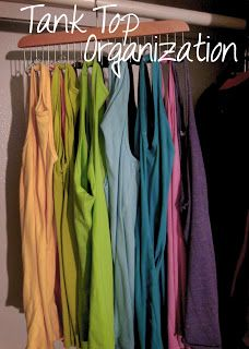 Using a belt hanger to organize tank tops. Would free up so much space in my dresser and I could actually find the color I am looking for!