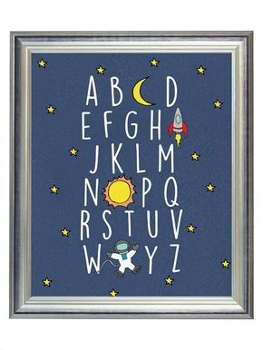 Blue Outer Space Alphabet ABC Nursery Digital Print Art, Alphabet Print for Baby Boy, Wall Art Decor, Digital Typography   $5.00   8x10