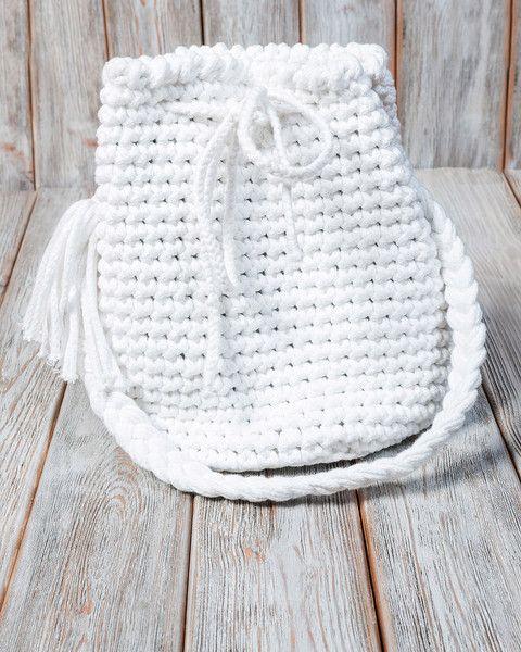 Umhängetaschen - Torebka sznurkowa w kolorze białym - ein Designerstück von Mayalove- bei DaWanda